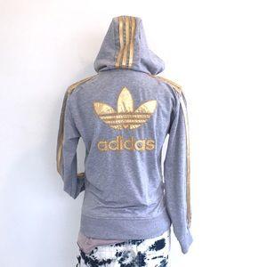 ec0422eb1891 Adidas hoodie size L gray   gold EUC back big logo
